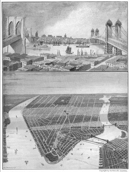Associate Product NEW YORK. Brooklyn bridge; east river; Bird's eye view 1907 old antique print