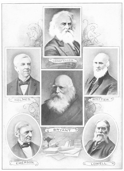 Associate Product POETS. Longfellow; Holmes; Bryant; Whittier; Emerson; Lowell 1907 old print