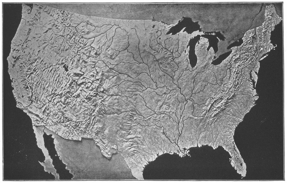 Associate Product USA. Relief map US, Modeled, S Survey 1907 old antique vintage print picture
