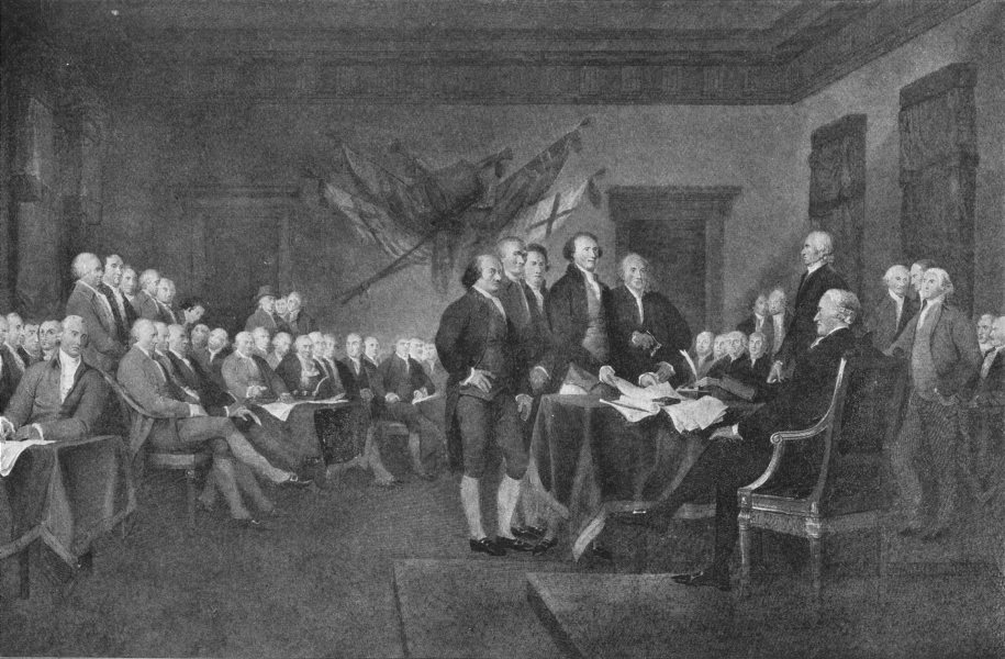 Associate Product POLITICS. Signing of the Declaration of Independence 1907 old antique print