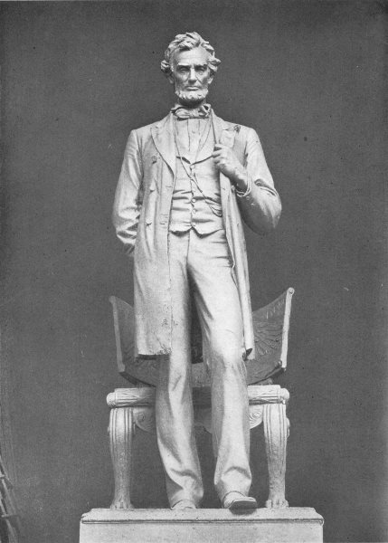 Associate Product ILLINOIS. Statue of Abraham Lincoln, St-Gaudens, in Park, Chicago 1907 print