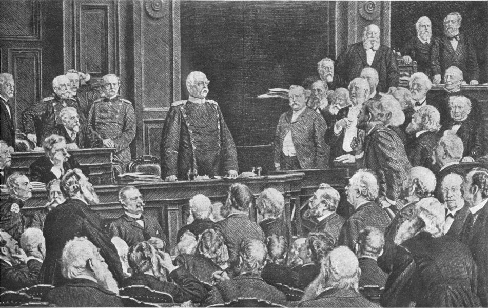Associate Product POLITICS. Bismarck Addressing the Reichstag 1907 old antique print picture