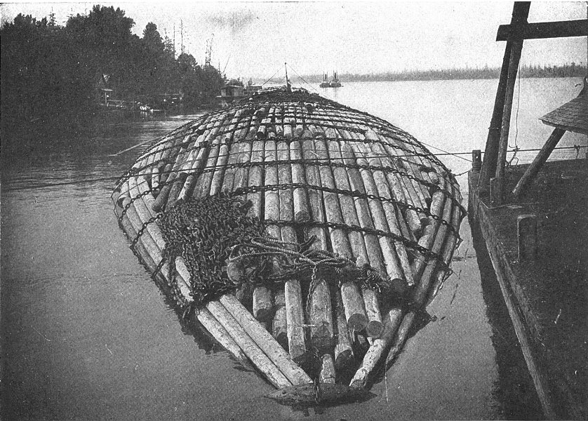 Associate Product OREGON. A gaint raft, Columbia river, Bound for San Francisco 1907 old print