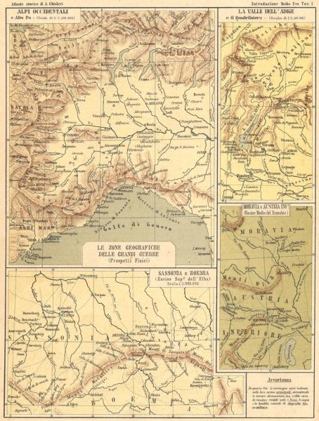 Associate Product EUROPE. Alpi; Adige Quadrilatero; Moravia Austria; Sassonia Boemia 1889 map