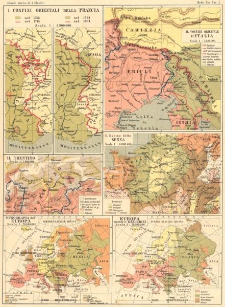 Associate Product FRANCIA. Italia; Trentino; Senna; Etnografia Europa; Religioni 1889 old map
