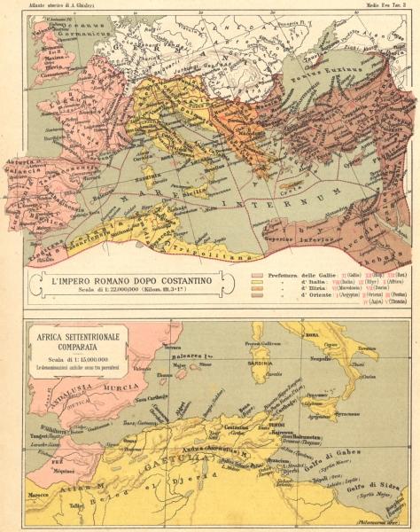 Associate Product AFRICA. L'Impero Romano Dopo Costantino; Settentrionale Comparata 1889 old map
