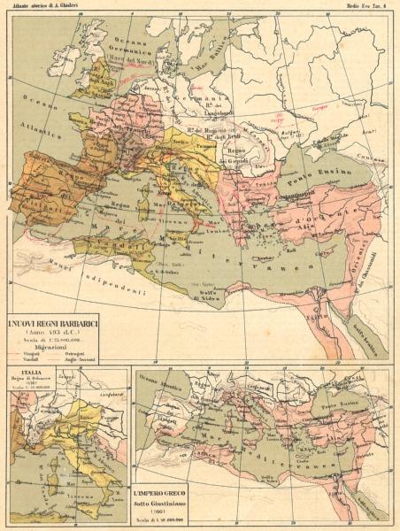 Associate Product ITALY. Inuovi Regni Barbarici; Italia; Impero Greco Sotto Giustiniano 1889 map