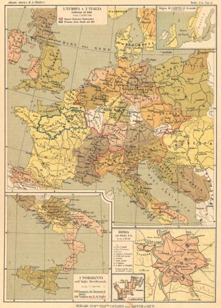 Associate Product EUROPA. Italia c1000 Canuto c1030 Normanni; Roma Medio Evo; Lateranum 1889 map