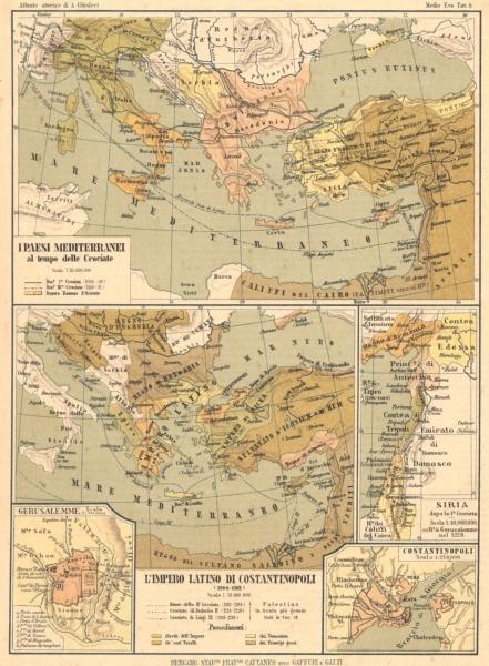 Associate Product MEDITERRANEI CROCIATE. Gerusalemme Impero Latino Costantinopoli Siria 1889 map