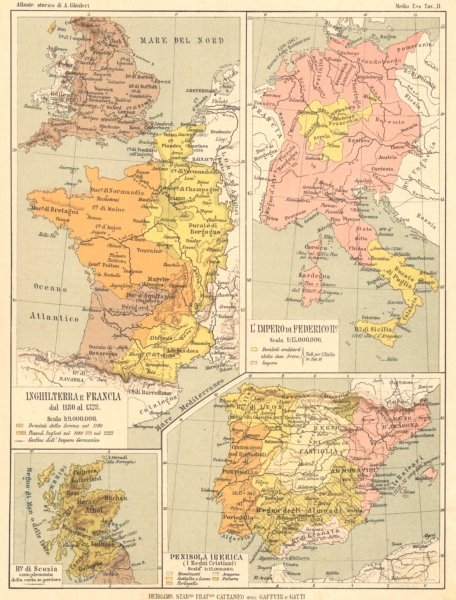 Associate Product EUROPE. Inghilterra Francia 13C impero Federicoiio Ro Scozia Iberica 1889 map