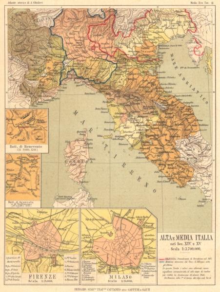 Associate Product ITALIA. 14-15C Batt Benevento; Scurcola Tagliacozzo; Firenze; Milano 1889 map