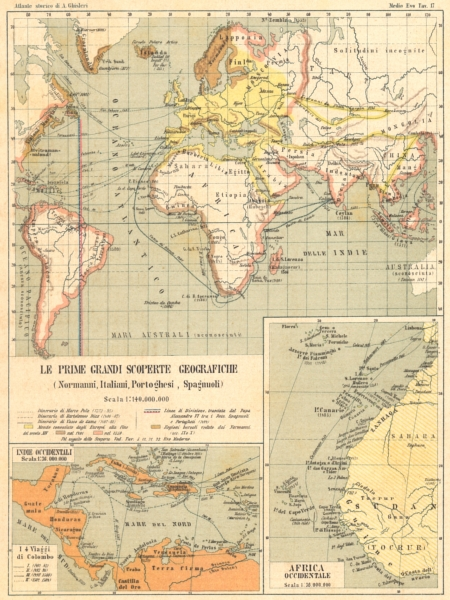 Associate Product SCOPERTE GEOGRAFICHE. Normanni, Italiani, Portoghesi, Spagnoli; Indie 1889 map