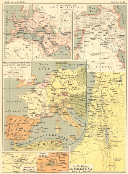 Associate Product WORLD. Asia occidentale; Porti Piazze Commercio Europa; Palestina 1889 old map
