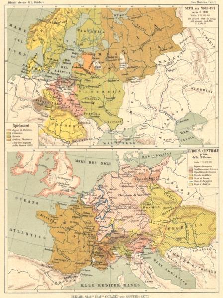 Associate Product EUROPE. Stati del Nord-Est 1492; Europa Centrale prima della Riforma 1889 map