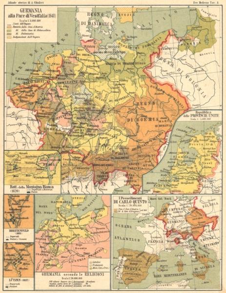 Associate Product GERMANIA. Pace Vestfalia; Montagna Bianca; Lutzen; religioni; Carlo V 1889 map