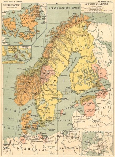 Associate Product SCANDINAVI. Gli Stati; maps Isole Danesi; Stocolma; Itinerario Carlo 12 1889