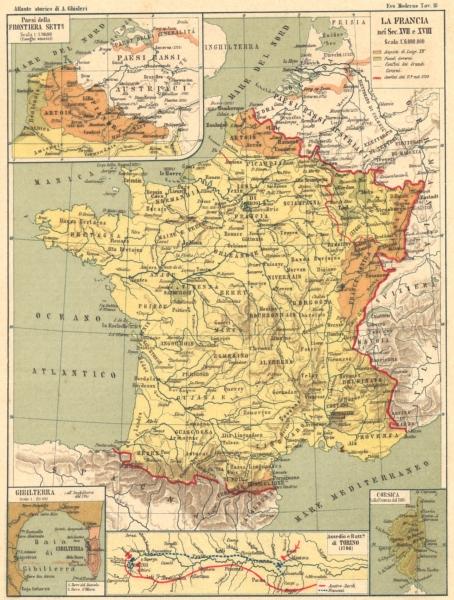 Associate Product FRANCIA 17-18C. Frontiera Sette; Gibilterra; Assedio Torino; Corsica 1889 map