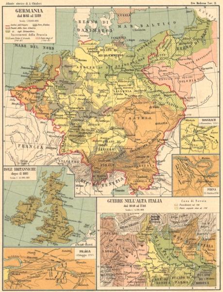 Associate Product GERMANIA. Isole Britanniche; Praga; Guerre Italia; Rossbach; Pirna 1889 map