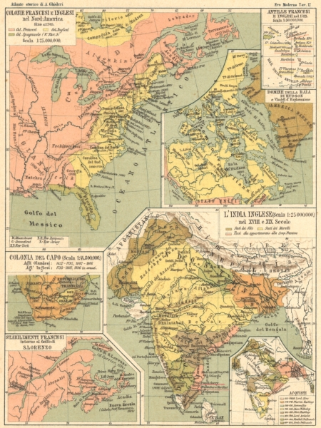 Associate Product COLONIE FRANCESI INGLESI. America Colonia Capo Lorenzo Antille India 1889 map