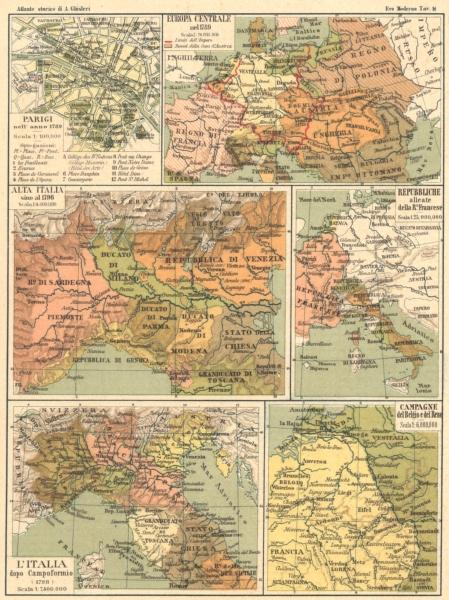Associate Product EUROPA. Parigi(Paris); Francese; Italia Compoformio; Belgio Reno 1889 old map