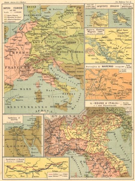 Impero Francese. Egitto; Russia; Citta Capo; Malta; Marengo; Italia 1889 map