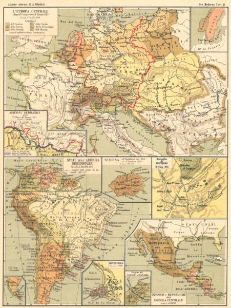 Europa Centrale. Acquisti Germanici; America South; Waterloo; Messico 1889 map