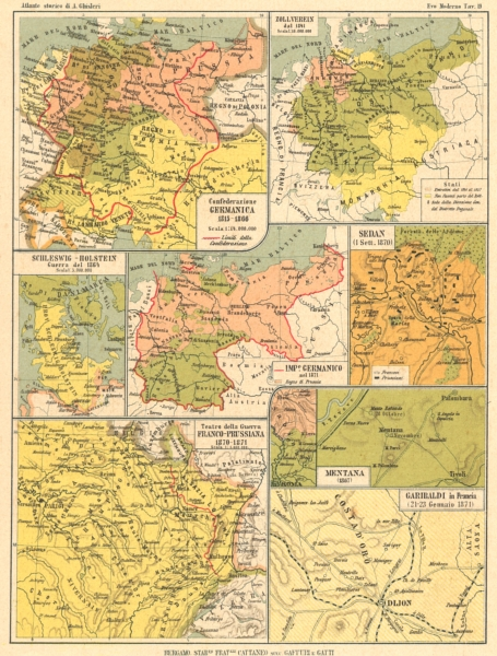 Associate Product CONFEDERAZIONE GERMANICA. Schleswig Guerra Prussiana Zollverein Sedan 1889 map