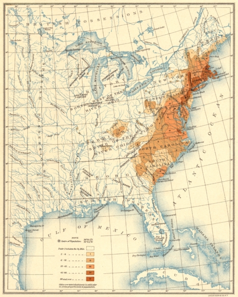 Associate Product USA. Population distribution. 1790 1900 old antique vintage map plan chart