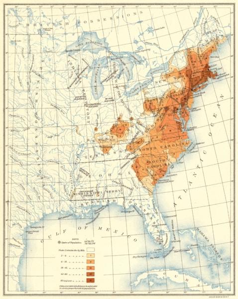 Associate Product USA. Population distribution. 1800 1900 old antique vintage map plan chart