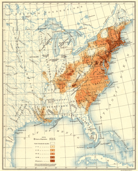 USA. Population distribution East of the 100th Meridian. 1810 1900 old map