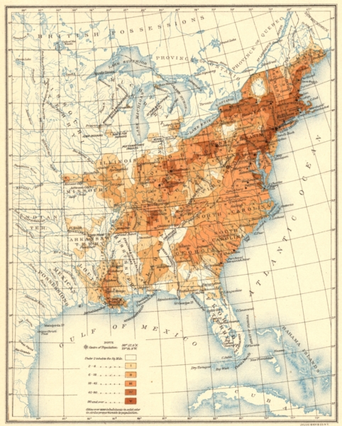 Associate Product USA. Population distribution East of the 100th Meridian. 1830 1900 old map