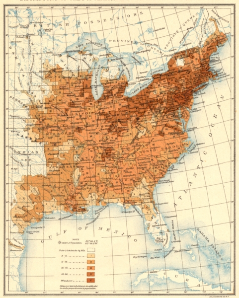 Associate Product USA. Population distribution East of the 100th Meridian. 1860 1900 old map