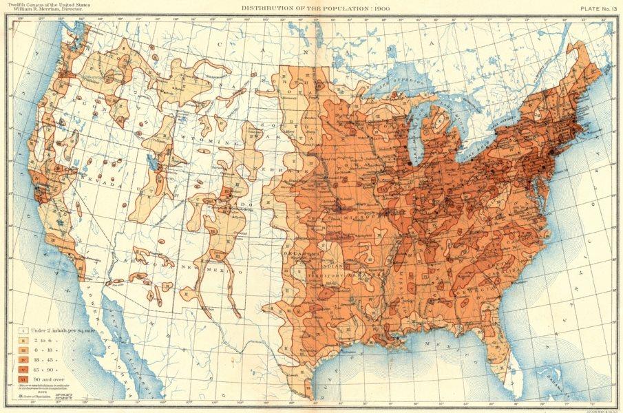 Associate Product USA. Population distribution. 1900 1900 old antique vintage map plan chart