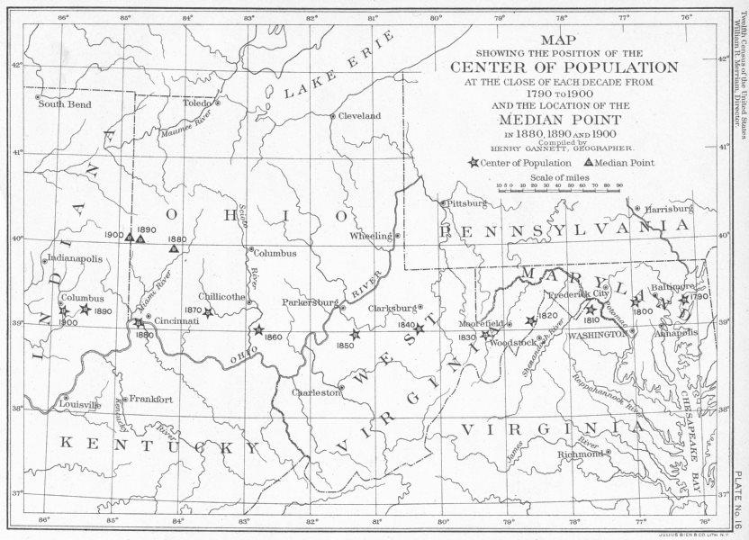 Associate Product USA. WV OH MD VA KY. map center median Pt population 1790 1900 1900 old