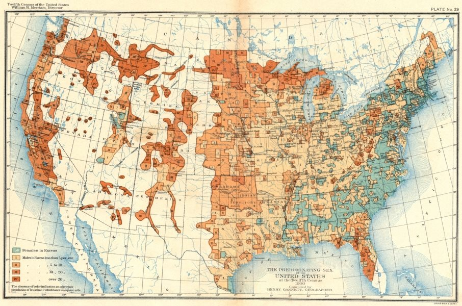Associate Product USA. Predominating sex of US at 12th Census  1900 old antique map plan chart