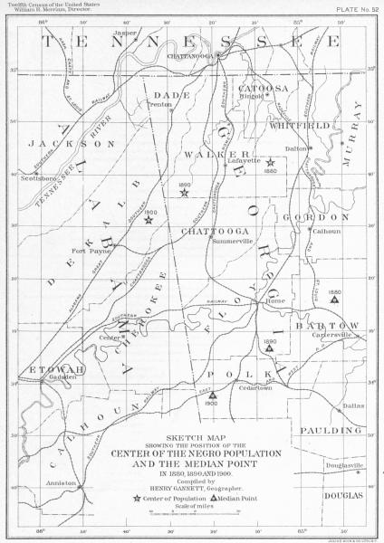 Associate Product USA. TN. map position center Negro population Median Pt 1880, 1890 1900