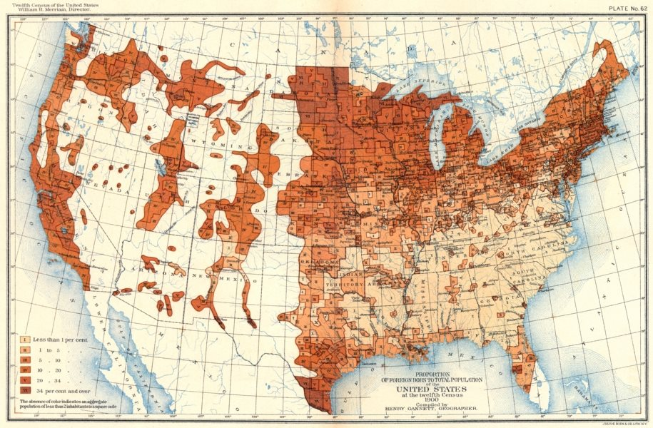 Associate Product USA. % foreign born total population US 12th census  1900 old antique map