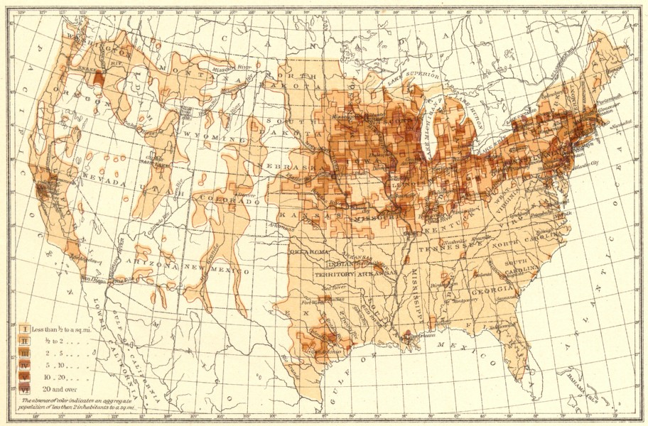Associate Product USA. Density of Natives of Germany.  1900 old antique vintage map plan chart