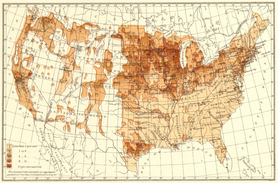 Associate Product USA. Proportion of natives Germany to total population.  1900 old antique map