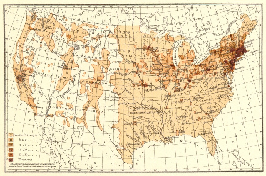 Associate Product USA. Density of Natives of the Ireland.  1900 old antique map plan chart