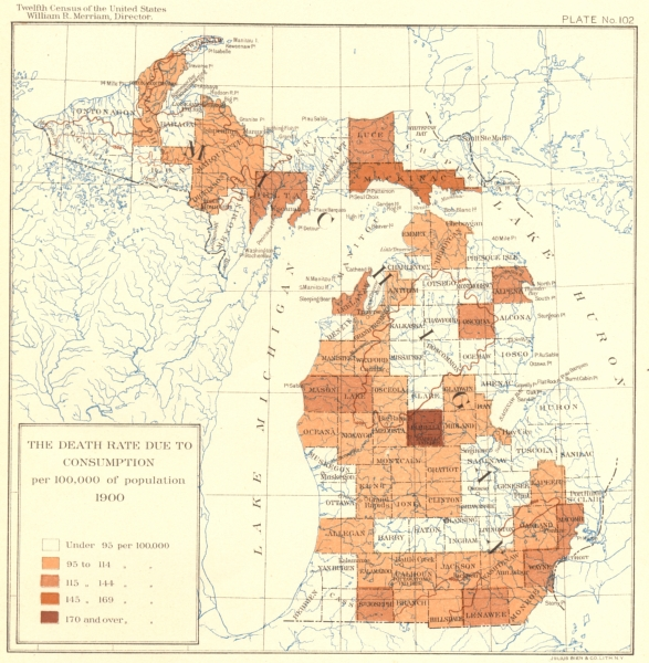 Associate Product USA. Death rate due to TB per 100, 000 of population  1900 old antique map