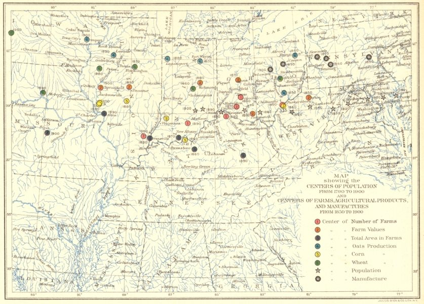 Associate Product USA. IA OH PA WV. Center population, farms, agriculture 1790-1900 1900 old map