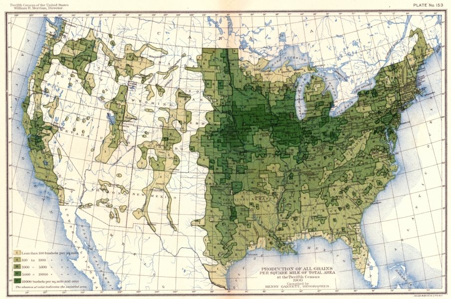 Associate Product USA. Production of all grains / sq mile total area at 12th census  1900 map