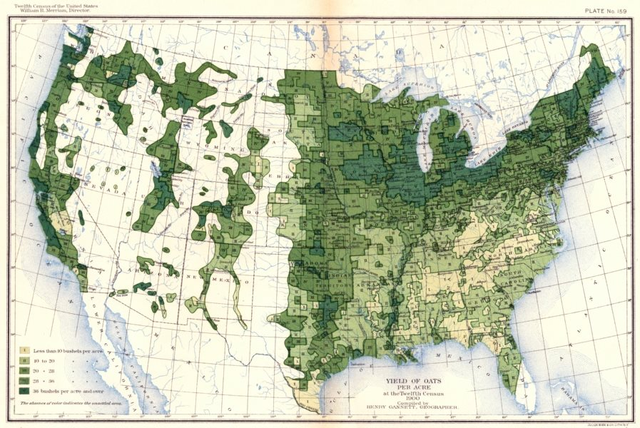 Associate Product USA. Yield of Oats per acre at the twelfth census  1900 old antique map chart