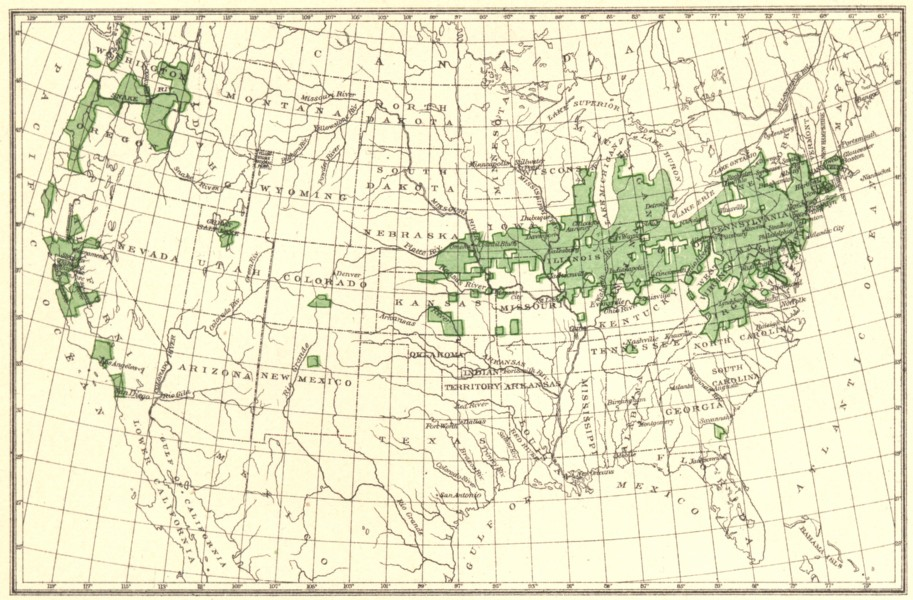 Associate Product USA. Cherries principal regions of production.  1900 old antique map chart