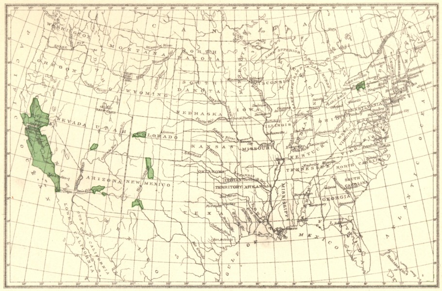 Associate Product USA. Apricots principal regions of production.  1900 old antique map chart