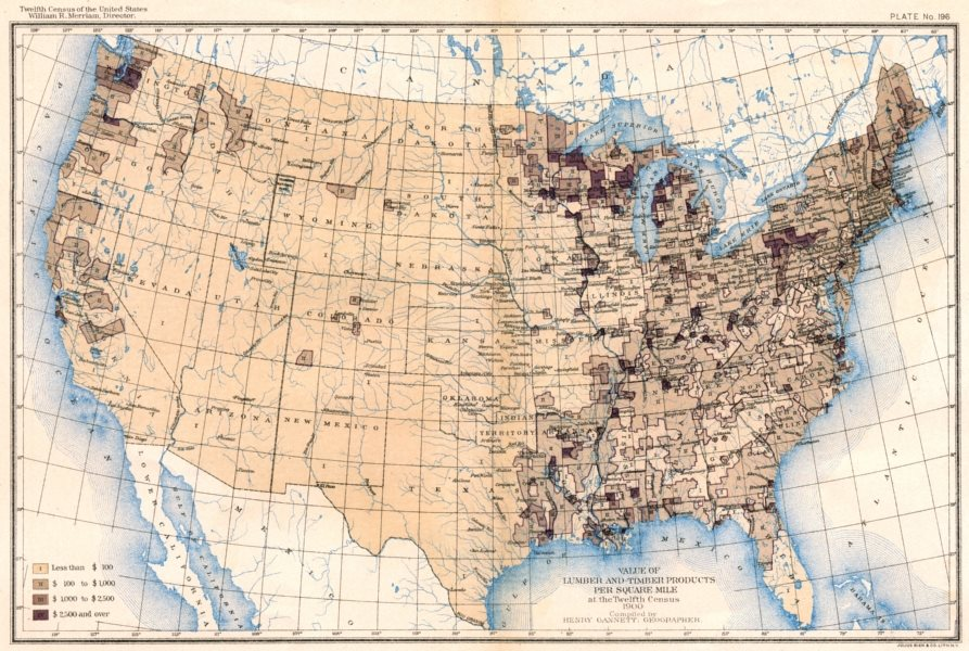 Associate Product USA. Value of lumber & timber products / sq mile at 12th census  1900 old map