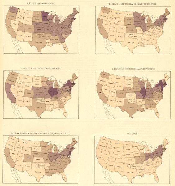 Associate Product USA. Output density. Flour; Dairy; Livestock; Liquor; Clay; Glass,  1900 map