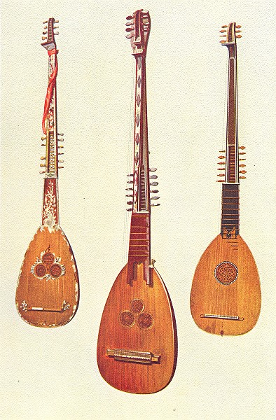 Associate Product MUSICAL INSTRUMENTS. Three Chitarroni 1945 old vintage print picture