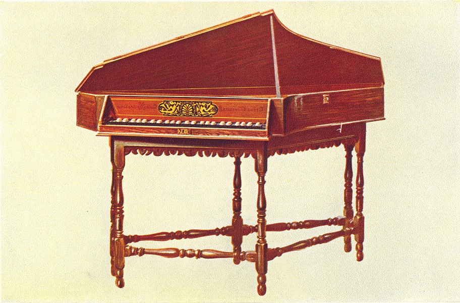 Associate Product MUSICAL INSTRUMENTS. Spinet 1945 old vintage print picture